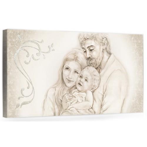"""A001 Originale quadro moderno su tela per la camera da letto con decorazioni 3D - Immagine """"Il calore/ unione della famiglia"""""""