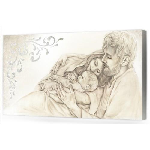 """A002 Originale quadro moderno su tela per la camera da letto con decorazioni 3D - Immagine """"Il calore/ unione della famiglia"""""""