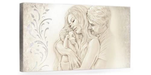 """A003 Originale quadro moderno su tela per la camera da letto con decorazioni 3D - Immagine """"Il calore/ unione della famiglia"""""""