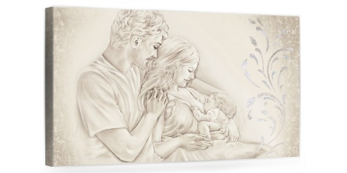 """A005 Originale quadro moderno su tela per la camera da letto con decorazioni 3D - Immagine """"Il calore/ unione della famiglia"""""""
