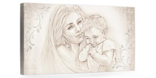 """A007 Originale quadro moderno su tela per la camera da letto con decorazioni 3D - Immagine """"Il calore/ unione della famiglia"""""""