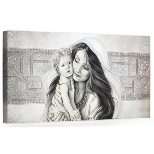 """COD. PRESTIGE11 MONOC. ARG - Capezzale quadro moderno su tela sacro """" Maternità """" Madonna con banbino Catalogo   Prodotti"""