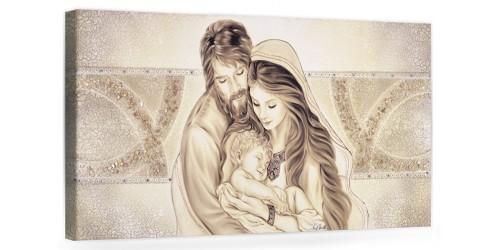 """OD. PRESTIGE10 MONOC. ORO - Capezzale quadro moderno su tela sacro """" Sacra Famiglia """" Madonna con banbino e San GIuseppe"""