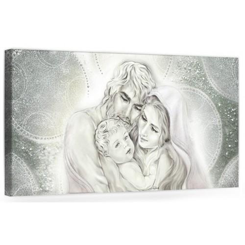 """COD. PRESTIGE01 MONOC. ARG - Capezzale quadro moderno su tela sacro """" Sacra Famiglia """" Madonna con banbino e San GIuseppe"""