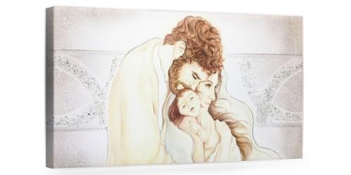 "COD. PRESTIGE202 COLOR ARG - Capezzale quadro moderno su tela sacro "" Sacra Famiglia "" Madonna con banbino e San Giuseppe"