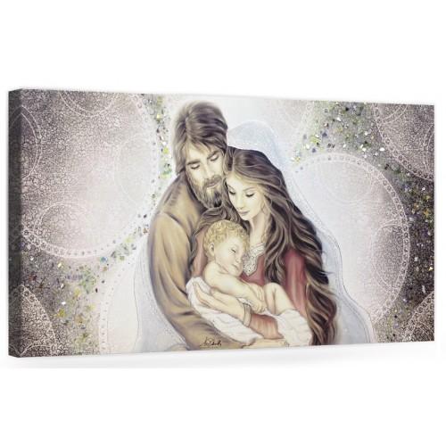 "COD. PRESTIGE08 COLOR ARG - Capezzale quadro moderno su tela sacro "" Sacra Famiglia "" Madonna con banbino e San GIuseppe"