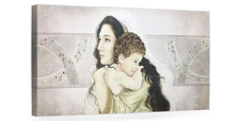 """COD. PRESTIGE06 COLOR. ARG - Capezzale quadro moderno su tela sacro """" Maternità """" Madonna con banbino"""