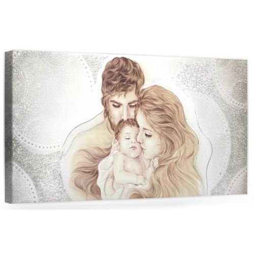 "COD. PRESTIGE203 COLOR ARG - Capezzale quadro moderno su tela sacro "" Sacra Famiglia "" Madonna con banbino e San Giuseppe"
