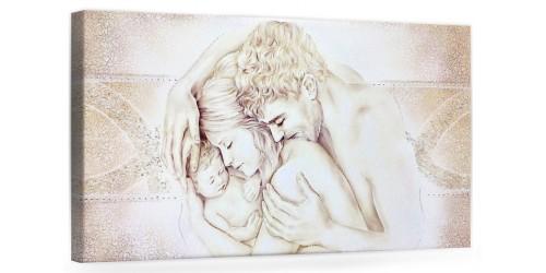 """COD. PRESTIGE204 MONOC. ORO - Capezzale quadro moderno su tela """" Unione Famiglia """" decorato con vetri di murano"""