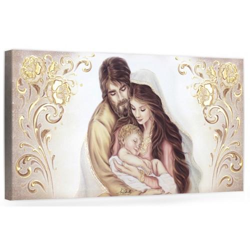 "COD. BASIC21 COLOR ORO - Capezzale quadro moderno su tela sacro "" Sacra Famiglia "" Madonna con Banbino e San Giuseppe"