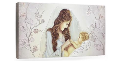 """COD. BASIC17 COLOR ARG - Capezzale quadro moderno su tela sacro """" Maternità """" Madonna con Bambino"""