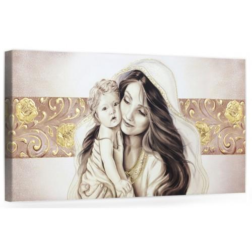 """COD. BASIC15 MONOC. ORO - Capezzale quadro moderno su tela sacro """" Maternità """" Madonna con Bambino"""