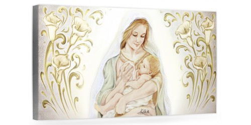 """COD. BASIC19 COLOR ARG - Capezzale quadro moderno su tela sacro """" Maternità """" Madonna con Bambino"""