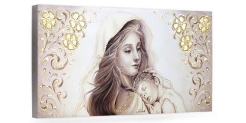 """COD. BASIC19-2 MONOC. ORO - Capezzale quadro moderno su tela sacro """" Maternità """" Madonna con Bambino"""