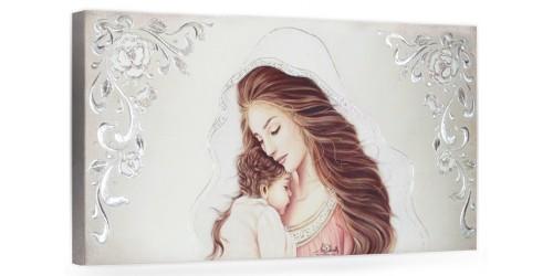 """COD. BASIC11 COLOR ARG - Capezzale quadro moderno su tela sacro """" Maternità """" Madonna con Bambino"""