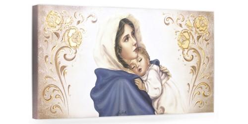 """COD. BASIC05 COLOR ORO - Capezzale quadro moderno su tela sacro """" Maternità """" Madonna del Ferruzzi con Bambino"""