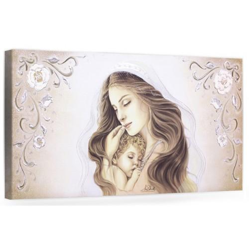 """COD. BASIC02 COLOR ORO - Capezzale quadro moderno su tela sacro """" Maternità """" Madonna con Bambino"""