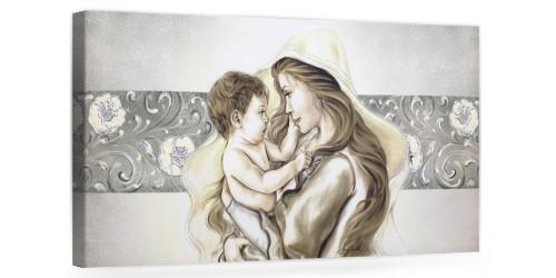 """COD. BASIC04 COLOR. ARG - Capezzale quadro moderno su tela sacro """" Maternità """" Madonna con Bambino"""