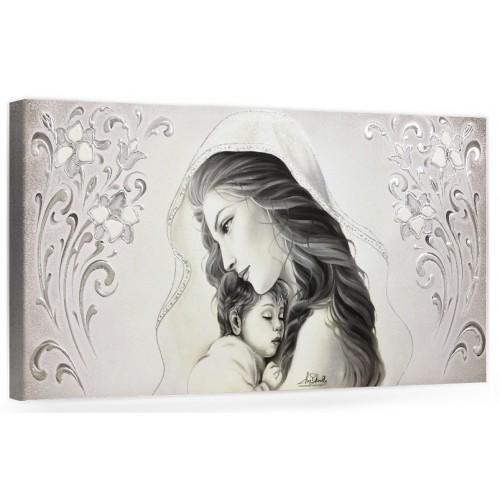 """COD. BASIC10 MONOC. ARG - Capezzale quadro moderno su tela sacro """" Maternità """" Madonna con Bambino"""
