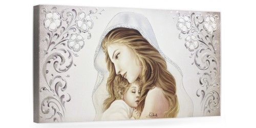 """COD. BASIC09 COLOR ARG - Capezzale quadro moderno su tela sacro """" Maternità """" Madonna con Bambino"""