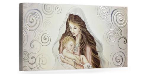"""COD. BASIC14 COLOR ARG - Capezzale quadro moderno su tela sacro """" Maternità """" Madonna del Ferruzzi con Bambino"""
