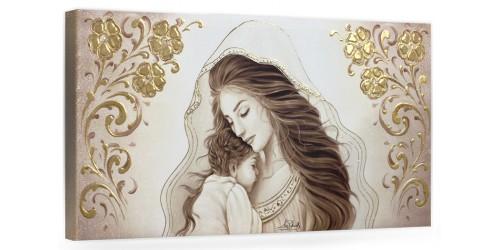 """COD. BASIC12 MONOC. ORO - Capezzale quadro moderno su tela sacro """" Maternità """" Madonna con Bambino"""