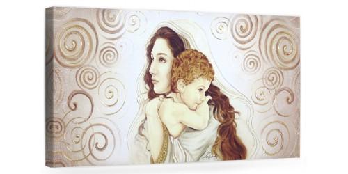 """COD. BASIC01 COLOR ORO - Capezzale quadro moderno su tela sacro """" Maternità """" Madonna del Ferruzzi con Bambino"""