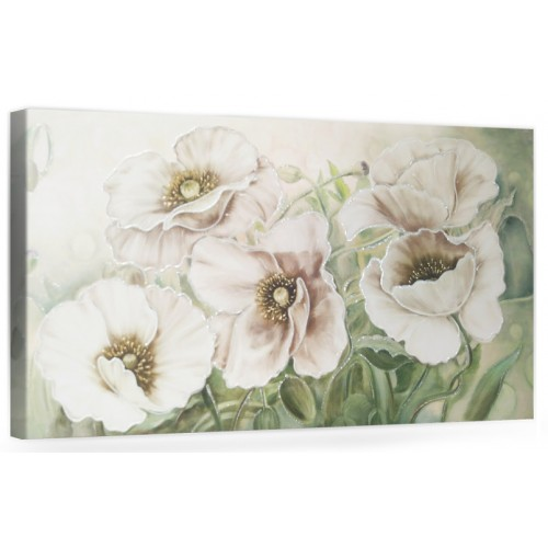 """F003 Originale quadro moderno su tela con fiori per il salone decorazioni 3D """" Tulipani bianchi """""""