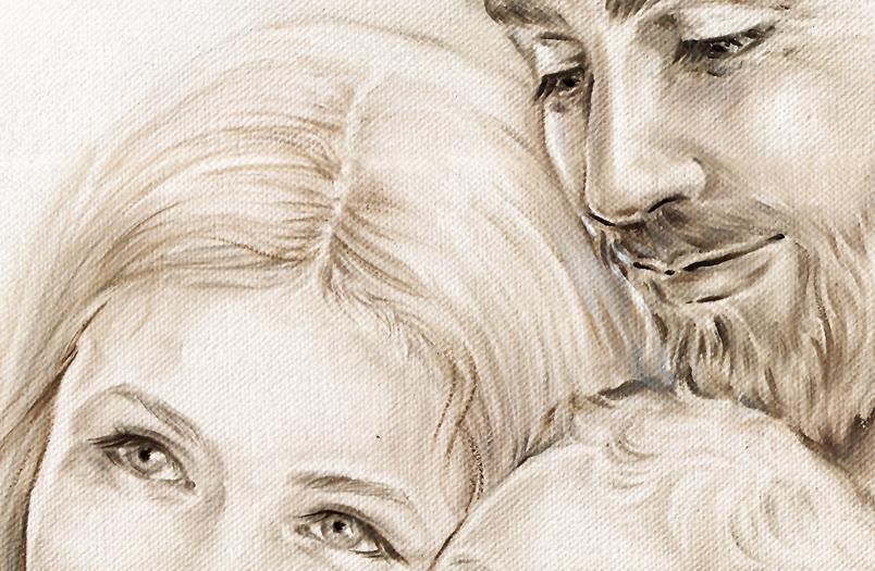 A006 Originale quadro moderno su tela per la camera da letto con decorazioni 3D - Immagine Il calore unione della famiglia