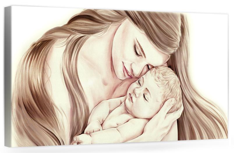 """A204 Quadro moderno su tela dipinto a mano per la camera da letto, Maternità """"Famiglia"""" Donna con bambino"""