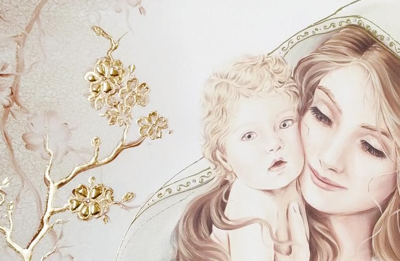 """COD. BASIC03 COLOR ORO - Capezzale quadro moderno su tela sacro """" Maternità """" Madonna con Bambino"""
