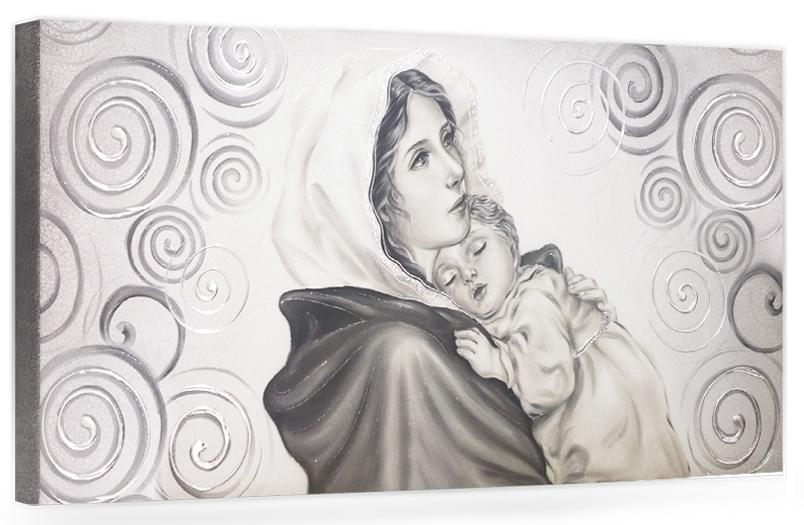 """COD. BASIC06 MONOC. ARG - Capezzale quadro moderno su tela sacro """" Maternità """" Madonna del Ferruzzi con Bambino"""