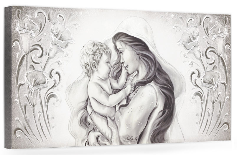 """COD. BASIC08 MONOC. ARG - Capezzale quadro moderno su tela sacro """" Maternità """" Madonna con Bambino"""