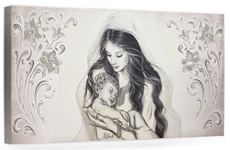 """COD. BASIC13 MONOC. ARG - Capezzale quadro moderno su tela sacro """" Maternità """" Madonna con Bambino"""