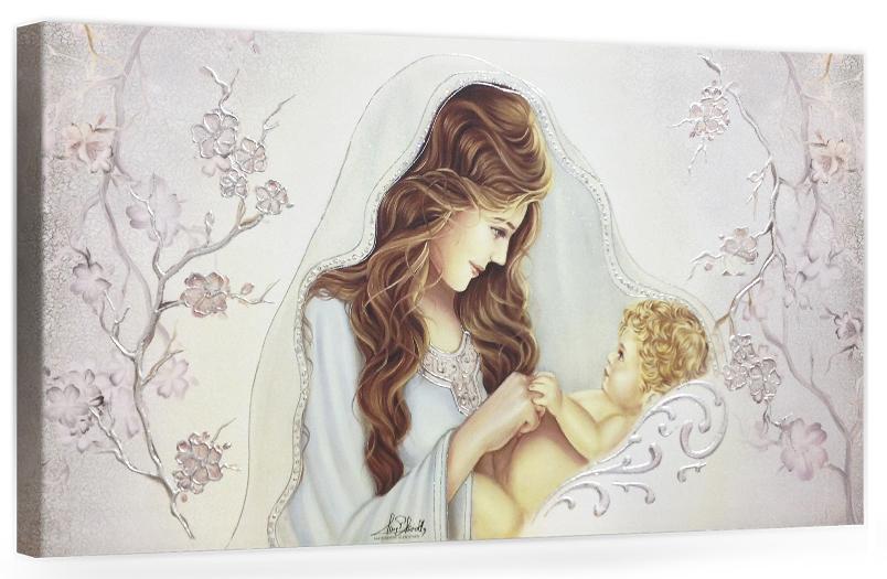 """Capezzale quadro moderno su tela sacro """" Maternità """" Madonna con Bambino"""