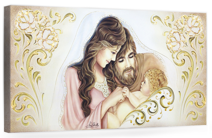 "COD. BASIC20 COLOR ORO - Capezzale quadro moderno su tela sacro "" Sacra Famiglia "" Madonna con Banbino e San Giuseppe"
