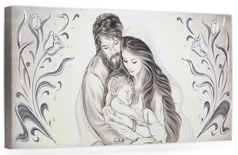 "COD. BASIC22 MONOC. ARG - Capezzale quadro moderno su tela sacro "" Sacra Famiglia "" Madonna con Banbino e San Giuseppe"