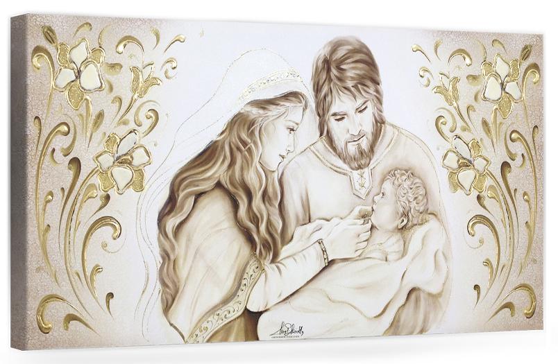 "COD. BASIC23 MONOC. ORO - Capezzale quadro moderno su tela sacro "" Sacra Famiglia "" Madonna con Banbino e San Giuseppe"