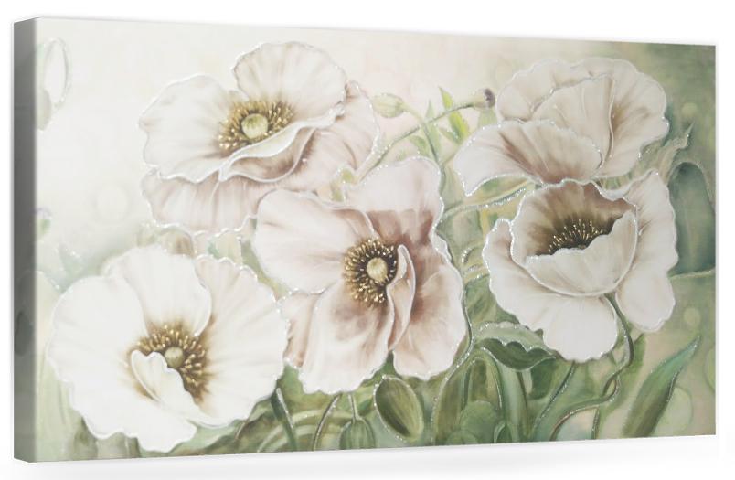 """F003 Originale quadro moderno su tela con fiori per il salone decorazioni 3D """" Papaveri bianchi """""""