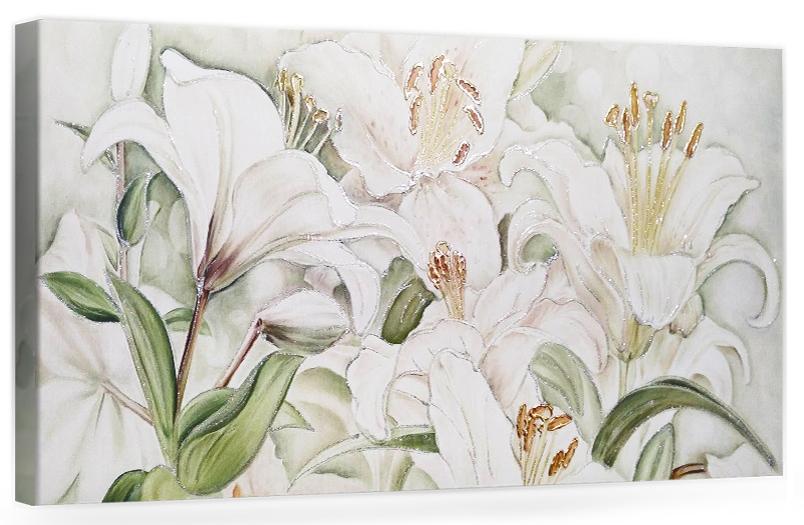 """F004 Originale quadro moderno su tela con fiori per il salone decorazioni 3D """" Gigli """""""