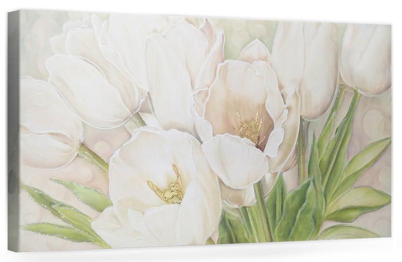 """F005 Originale quadro moderno su tela con fiori per il soggiono decorazioni 3D """" Tulipani bianchi"""""""