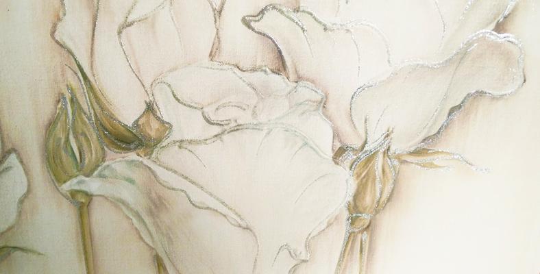 quadro con fiori dipinto floreale con rose montmartre decorato
