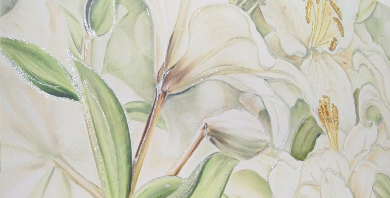 FLOWERS604 Quadro moderno su tela con fiori \