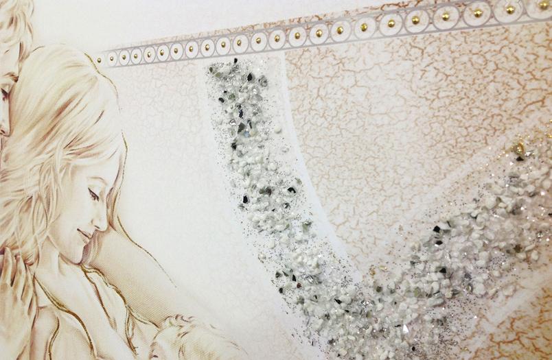 """COD. PRESTIGE205 MONOC. ORO - Capezzale quadro moderno su tela """" Unione Famiglia """" decorato con vetri di murano"""