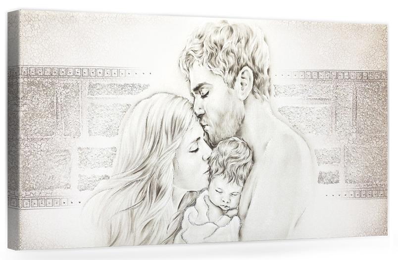 """COD. PRESTIGE206 MONOC. ARG - Capezzale quadro moderno su tela """" Unione Famiglia """" decorato con vetri di murano"""