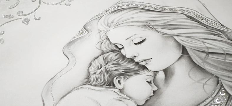 QUADRO468 Quadro capezzale moderno su tela immagine maternità sacro dettaglio lavorazione