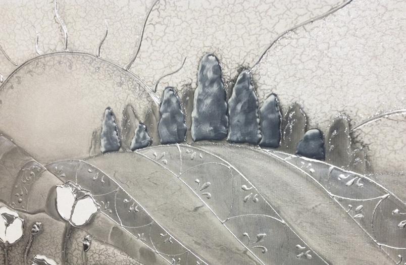COD. PAESAGGIO01 MONOC. ARG - Quadro moderno su tela con paesaggio