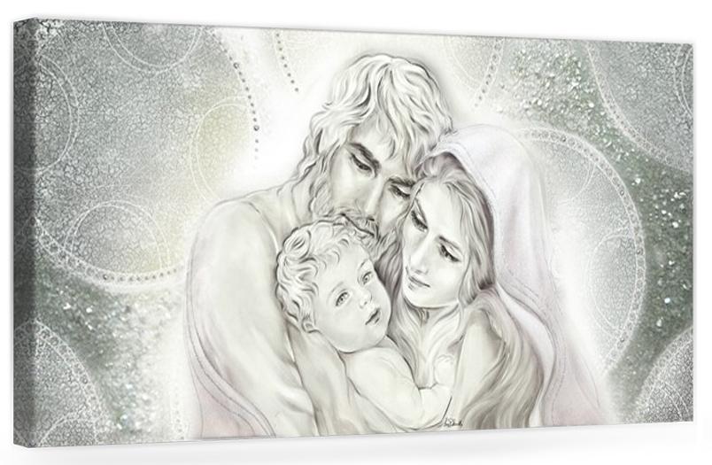 PRESTIGE01 Capezzale moderno su tela sacro con Sacra Famiglia