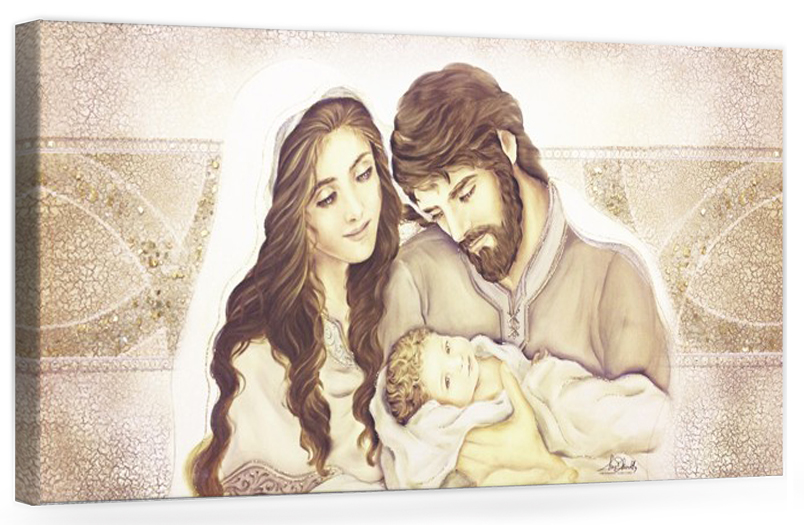 "Capezzale quadro moderno su tela sacro "" Sacra Famiglia "" Madonna con banbino e San GIuseppe"