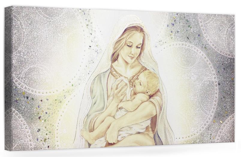 """COD. PRESTIGE07 COLOR. ORO - Capezzale quadro moderno su tela sacro """" Maternità """" Madonna con bambino"""